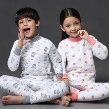 Новинка года; детское термобелье для мальчиков и девочек; плотная теплая Пижама; комплект из хлопка; детская зимняя длинная Подростковая Пижама