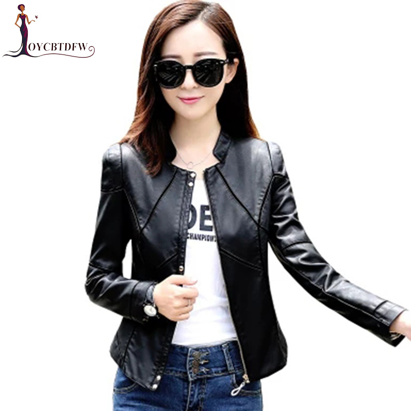 Plus Size M-4xl Fall Motorcycle Women Leather 2018 New Fashion Pure Color Leather Women Short Slim Sheepskin Bomber Jacket N265