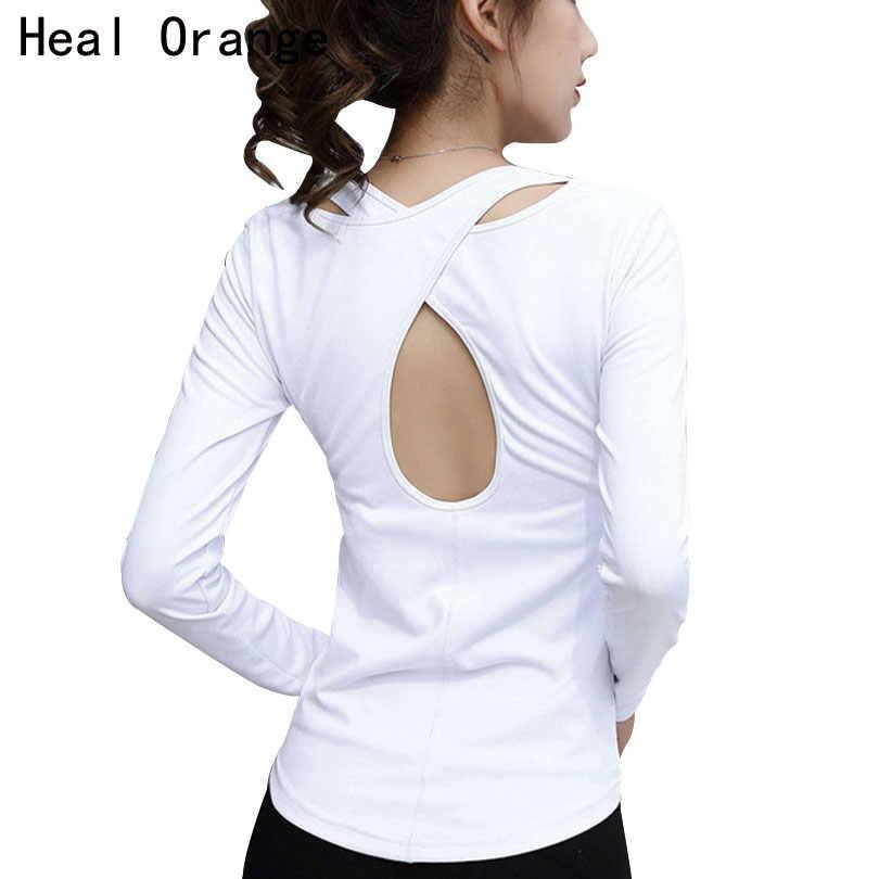 abf0dcf764b52 HEAL ORANGE Yoga Long Sleeve T-Shirt Sport Women Sportswear Dry Fit Women  Running Shirts