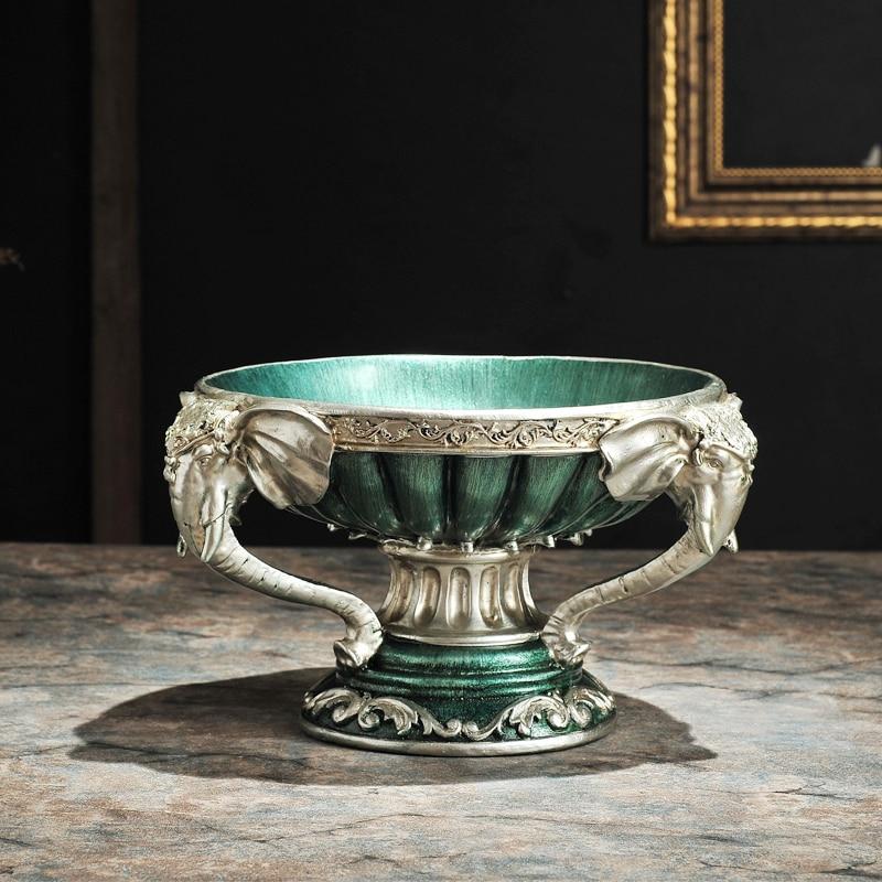Dipinto di verde ornamenti della resina piatto di frutta piatto di frutta decorazione Arredamento Per La Casa giardino soggiorno tavolino