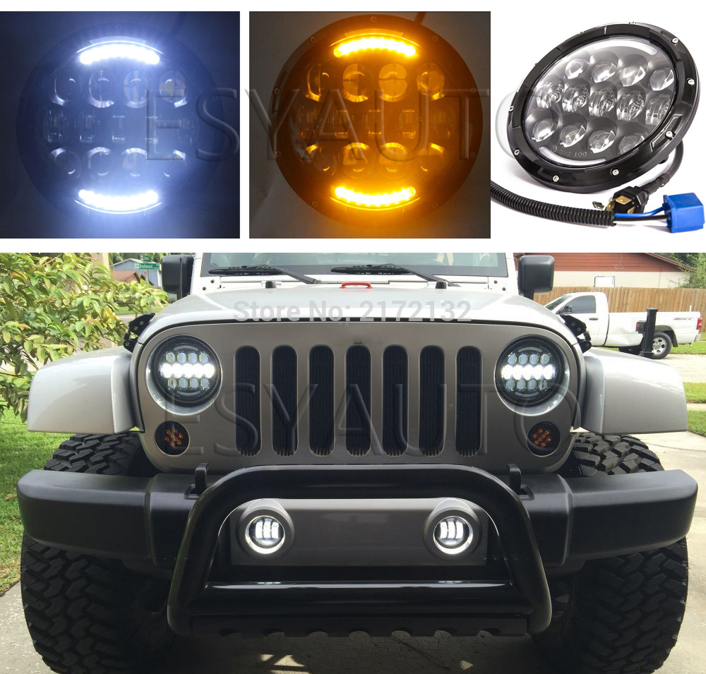 1set Yellow Angel eyes turning color 105W 7'' LED Headlight H4 Hi-lo Beam Front Driving Headlamp Head Light For jeep hireno headlamp for mercedes benz w163 ml320 ml280 ml350 ml430 headlight assembly led drl angel lens double beam hid xenon 2pcs