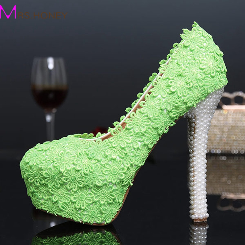 ФОТО Green Color Evening Party Shoes 2016 Autumn New Design Lace Flower Bridal Wedding Dress Shoes Cheap Bridesmaid Shoes Prom Pumps