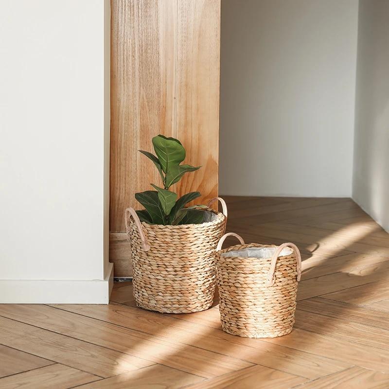 Creatieve Hand Geweven Opslag Mand Nordic Stro Waterdichte Bloempot Vaas Woonkamer Decoratie Bloem Mand Decoratie Vases Aliexpress
