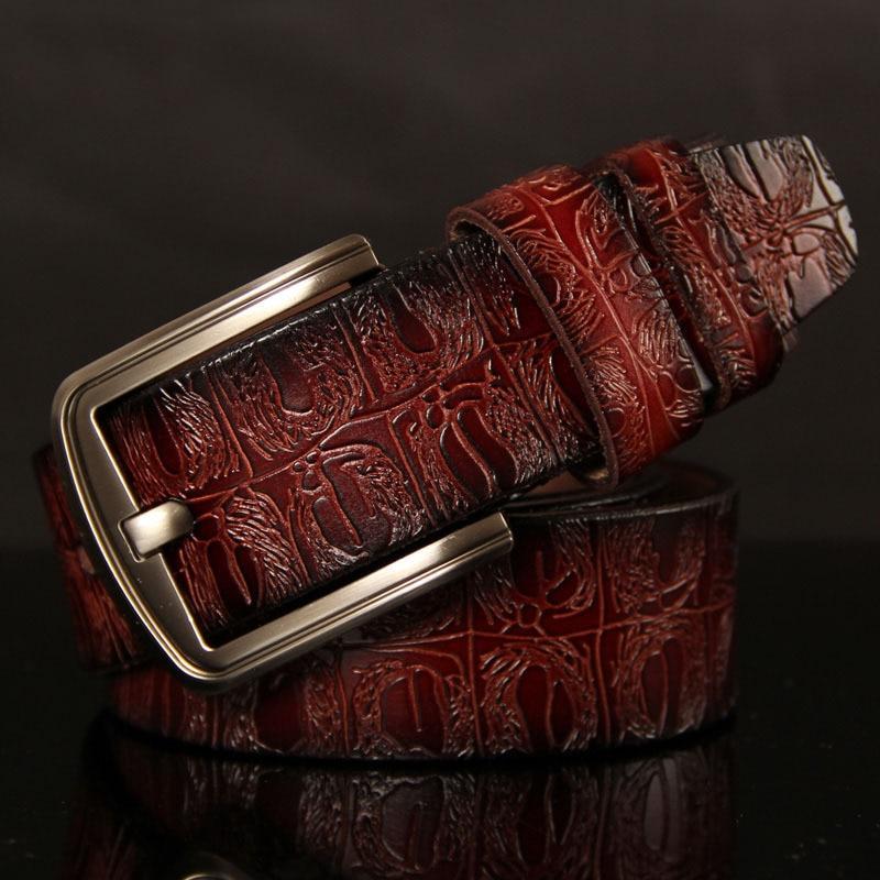 2018 Mens Luxury Crocodile Pattern Belt Leather Mens Belts Cinturones Hombre Pin Buckle Ceinture Male Business Designer
