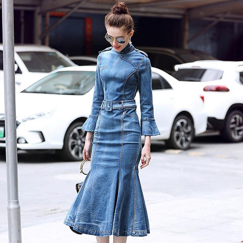 Élégant Automne Poignet Manches Robe Moulante Filles Bleu mollet Flare 2018 Denim Formelle Femmes Sirène Multiflora Blue Dress Mi qWPSRZpwR