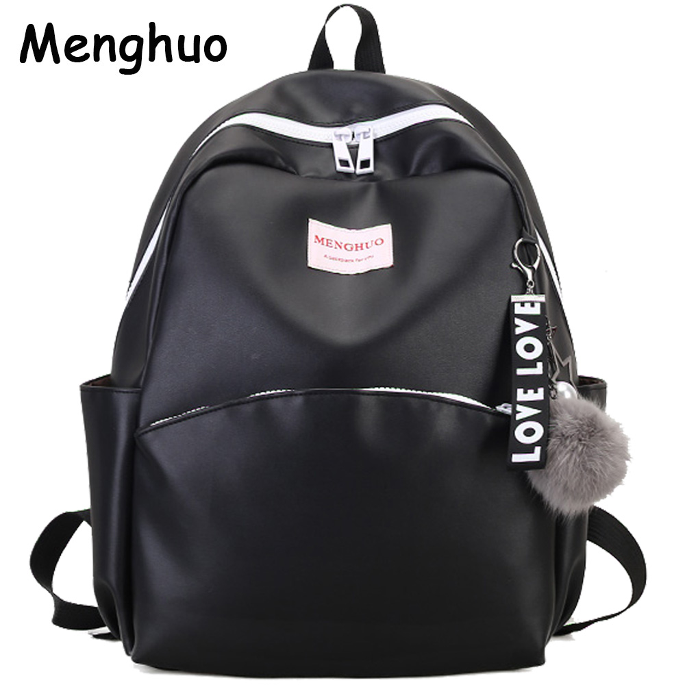 MENGHUO 2017 Venonat Travel Women Backpack Korean Female Rucksack Leisure Student School bag Soft PU Leather Women Bag Mochilas new travel backpack feminine korean women fashion backpack leisure student schoolbag black soft pu leather women bag 14ba31 9 2
