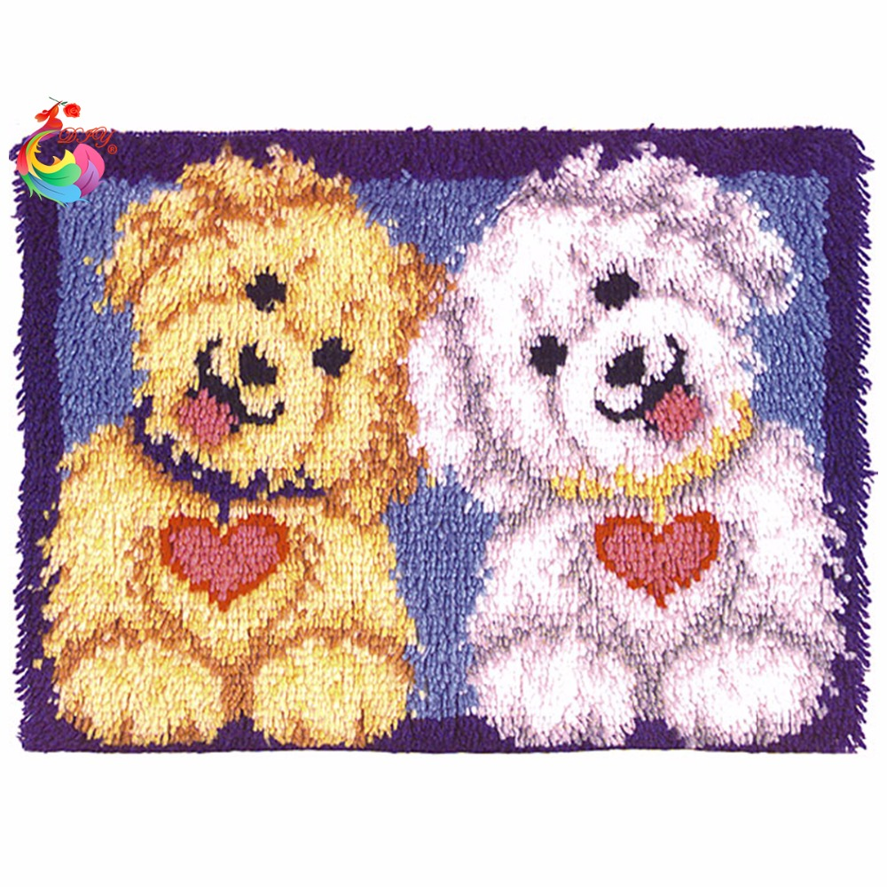 Rug Dogs Embroidery Designs: Kits For Embroidery Latch Hook Kit Rug Set Of Crochet