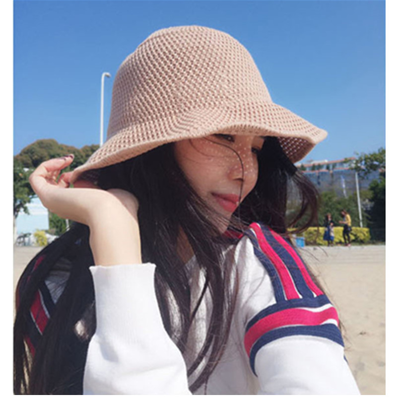 New Female Summer Breathable Solid Color hollow Cotton Material Fisherman Hat Fresh And Breathable Womens Hat