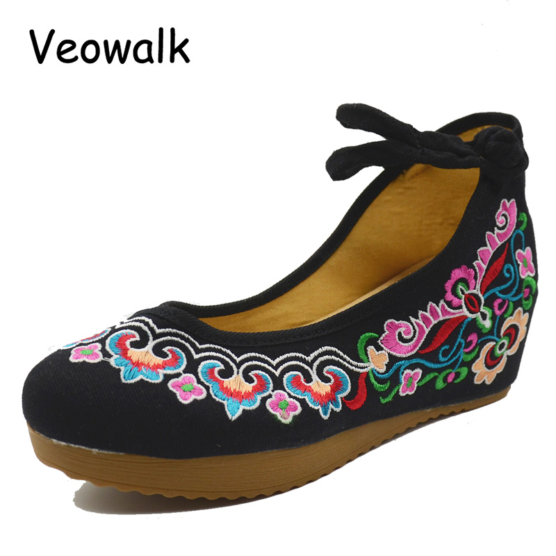 Veowalk Flower Embroidery Women Flat Platform Chinese Style Old Peking Mary Janes Increased 5cm Soft Sole Cloth Shoes Woman vintage embroidery women flats chinese floral canvas embroidered shoes national old beijing cloth single dance soft flats