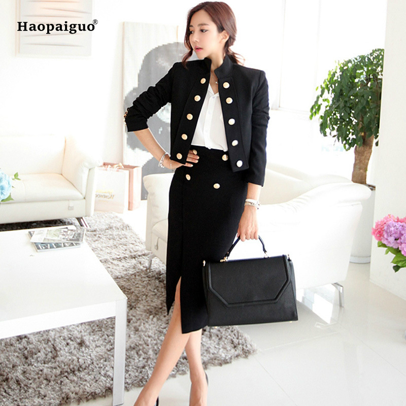 2018 Spring 2 Piece Set Women Suit Double Breasted Jacket and Skirt Suit Long Sleeves Black White Coat and Skirt 2 Piece pink lace up design long sleeves top and pleated design skirt two piece outfits