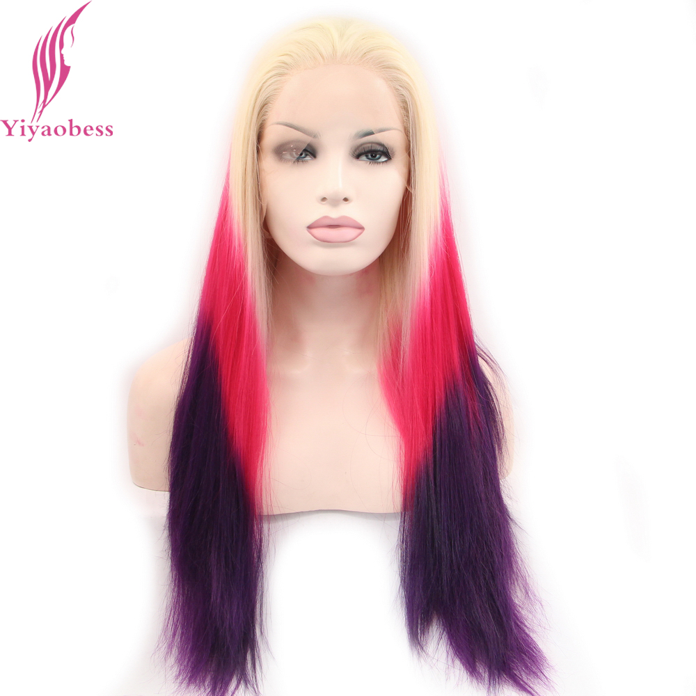 Yiyaobess Reta Longa Dianteira Do Laço Peruca de Cabelo Sintético Colorido Rainbow Loira Sem Cola Ombre Roxo Cosplay Perucas Para As Mulheres