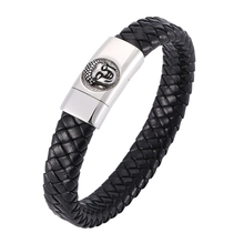 Fashion Bracelet Black Leather Bracelet Buddha head Stainless Steel Clasp Punk men Jewelry Wristband Bangle BB0315 new fashion punk jewelry men bracelet stainless steel cuff bangle silver hand chain black silicone wristband