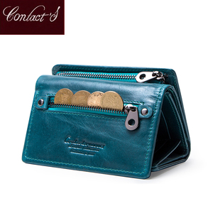 Image 1 - Contacts Women Wallets Clutch Coin Purse Woman Leather Genuine Leather Short Wallet Zipper Card Holder Money Bag For Girls