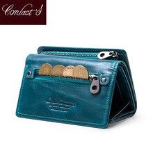 Mulher de couro genuíno carteira curta com zíper titular do cartão bolsa de dinheiro para meninas
