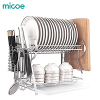 MICOE Dish rack for kitchen stainless steel Double layer ableware rack drying tableware With cutting board shelf