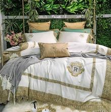 цена на Luxury White Green 80S Egyptian cotton Gold Lace Embroidery Palace Bedding set Duvet Cover Bed sheet Bed Linen Pillowcase 4/7pcs