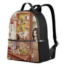 Qokr женские рюкзаки мультфильм милые девушки печати холст рюкзаки для среднего/школьников книга сумки сказка дети Сумка