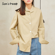 Samstree Spring Summer Safari Style Women Blouse Sheer Cotton Turn-down Collar Long Sleeve Side Slit Solid Color Female Shirts