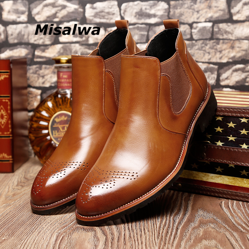 Misalwa Casual Oxford Style Hommes Chelsea Bottes Printemps Automne Hiver Mode Cheville Bottes Hommes Formelle Robe Chaussures 37-44