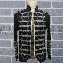 Black men suits designs stage costumes for singers men sequin blazer dance clothes jacket star style dress punk stand collar