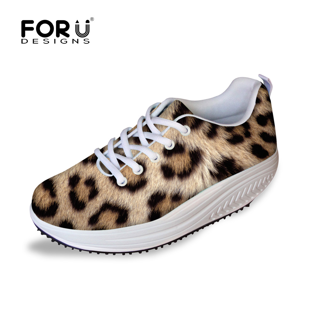 ФОТО FORUDESIGNS  Slimming Shoes Women Fashion New Casual Shoes Female Ladies Fitness Swing Flats Shoes Leopard Pattern Mesh Shoes