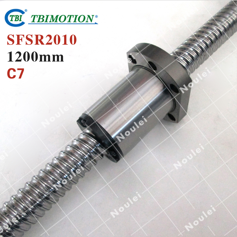 TBI 2010 C7 1200mm ballscrew with SFS2010 ball nut high stability CNC parts for machine SFS set taiwan tbi 2040 ballscrew 1000mm lead 40mm pitch with sfe2040 nut 4 rows steel ball high speed screw for cnc kit