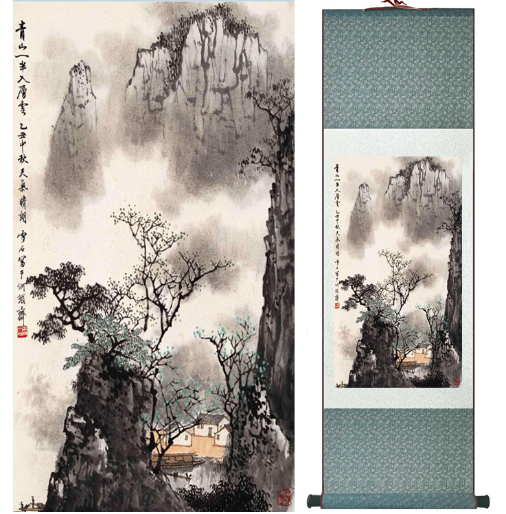 Mountain and River painting Chinese scroll painting landscape art painting home decoration picture 041707