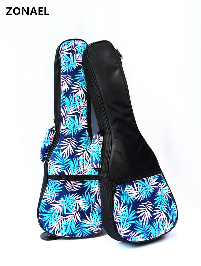 ZONAEL 21 23 26 Inch Double Strap Hand Folk Canvas Ukulele Carry Bag Guitar Parts Accessories Cotton Padded Case For Ukulele