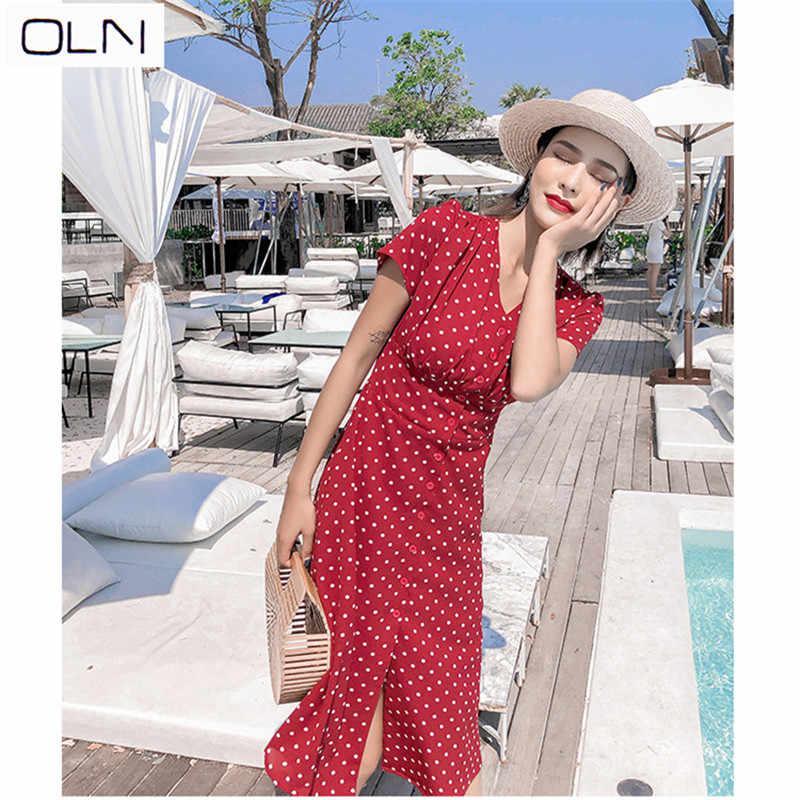 45eff143aea Hepburn style red French girl retro chiffon wave point very fairy French  niche dress female tea