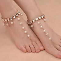 Luxe Strand Bruiloft Barefoot Sandalen Trouwschoenen, voet Sieraden BEACH Crystal Rhinestone Enkelband Charm Bracletet XR-067