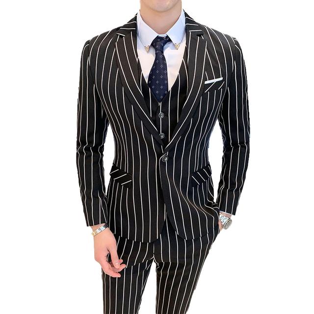 ( Jacket + Vest + Pants ) Brand Clothing Stripe Men Formal Businss Suit Black Wedding Groom Blazer with Pants Mens 3 Piece Suit