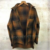 Brown & Black Tweed Check Shirt Hiphop Cropped Thick Overshirt Button Closure Patch Pocket Long Sleeve Coat