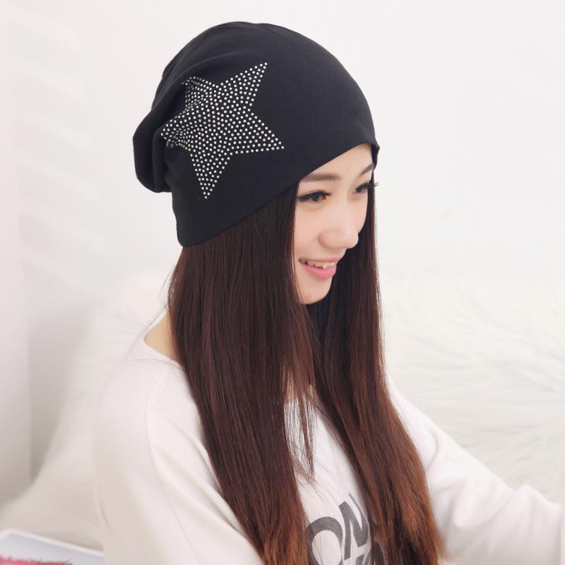 New Fashion Couple Diamond Star Head Cap Simple Pure Color Cap Cotton Lady Woman Thin Hat Autumn Winter Knit Baggy Beanie Hat