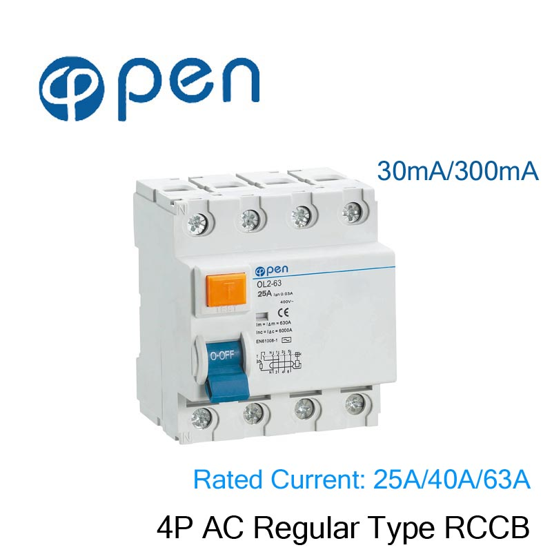 RCCB 4P 25A 300mA  AC Type Residual Current Circuit Breaker for Leakage and Short Protection