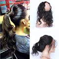 360 Lace Band Frontal Closure 7A Indian Virgin Hair Body Wave Human Hair Lace Frontals With Baby Hair Natural Hairline