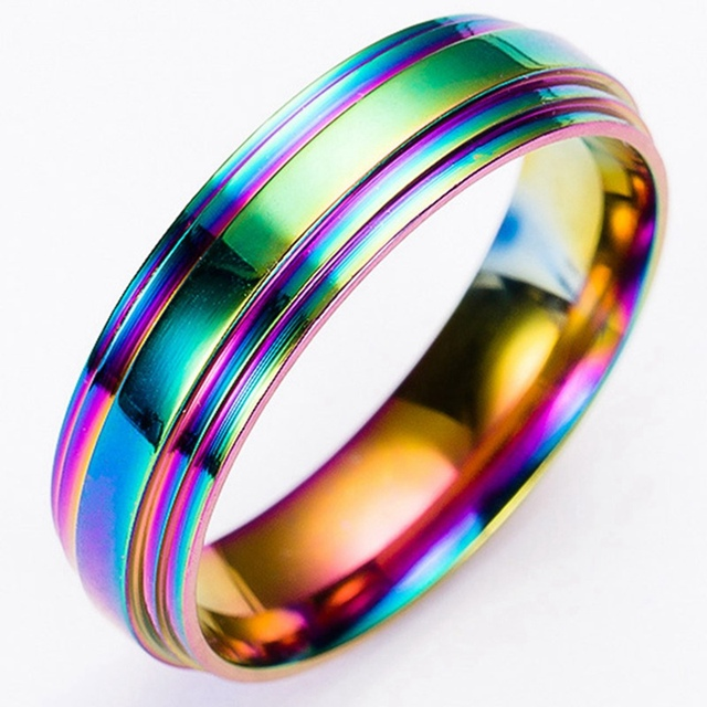 1Pcs High Quality Trendy Rainbow Colorful Titanium Steel Ring For Women/Men Fashion Jewelry Accessories Free Shipping