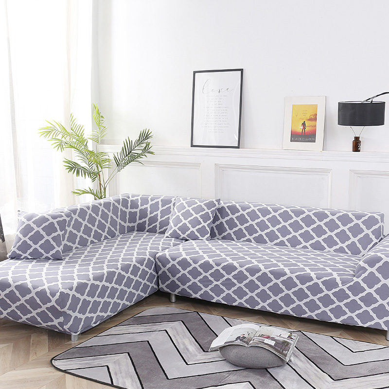2 Pcs Couch Covers for Corner L Shaped Sofa with Elastic and Straps for Living Room