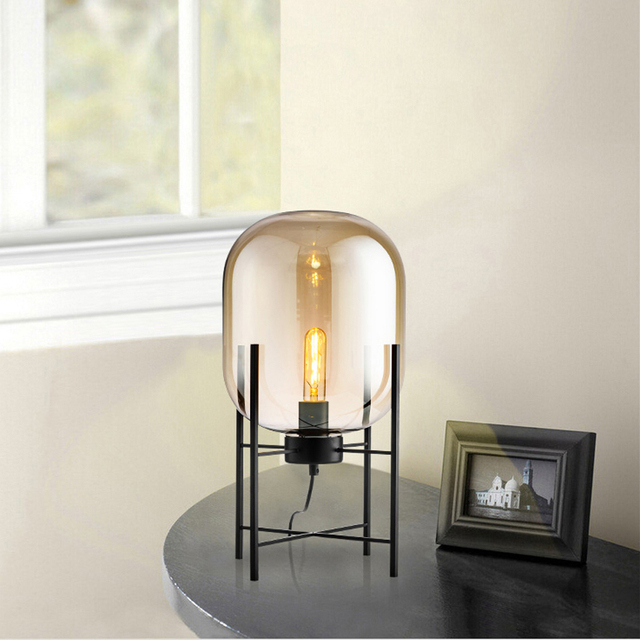 Led E27 Postmodern Iron Glass Sandy Smoky Gray LED LampLED Light Table Lamp