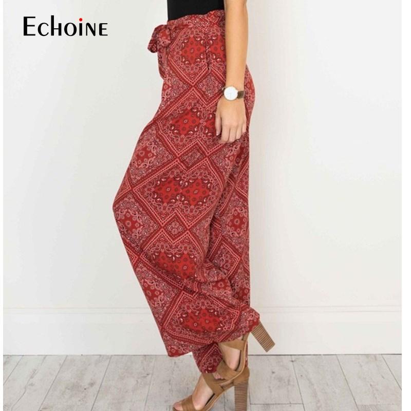 2019 Summer Fashion  bohemian Wide Leg Pants Women Trousers  Length with Sash Loose Casual Elegant streetwear Female Trousers
