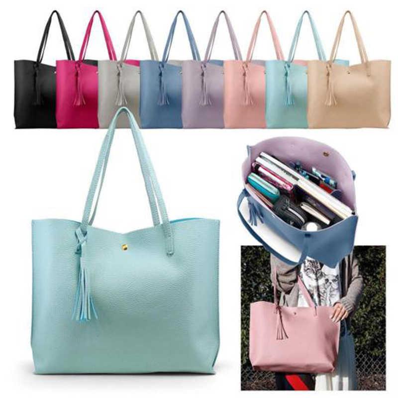 Son Moda Çanta Bayan omuzdan askili çanta Tote Çanta PU Deri Kadınlar Messenger Zarif Kadınlar Katı Renk PU Deri Çanta