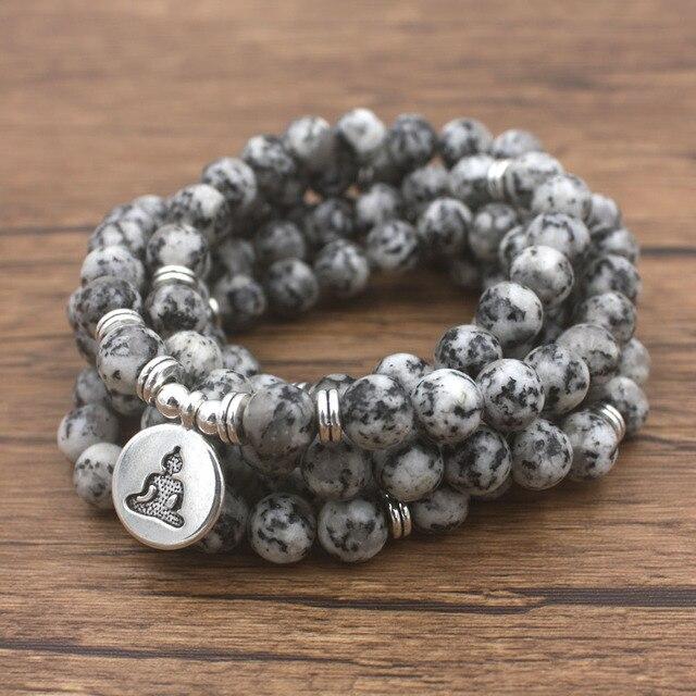 Bracelet Tibétain Mala de 108 pierres grises