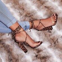 2019 Summer Sexy Snakeskin High Heel Women Sandals Transparent Leopard Open Toe Gladiator Pumps Retro Mature women Shoes Stileto