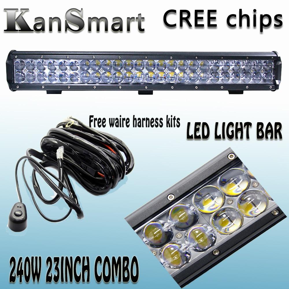 ФОТО KanSmart 4D 23Inch 240W LED Light Bar Cree Chips Work Lights Off-road Driving Car Lamp 24000LM SUV For Ford Toyota Honda Lada VW
