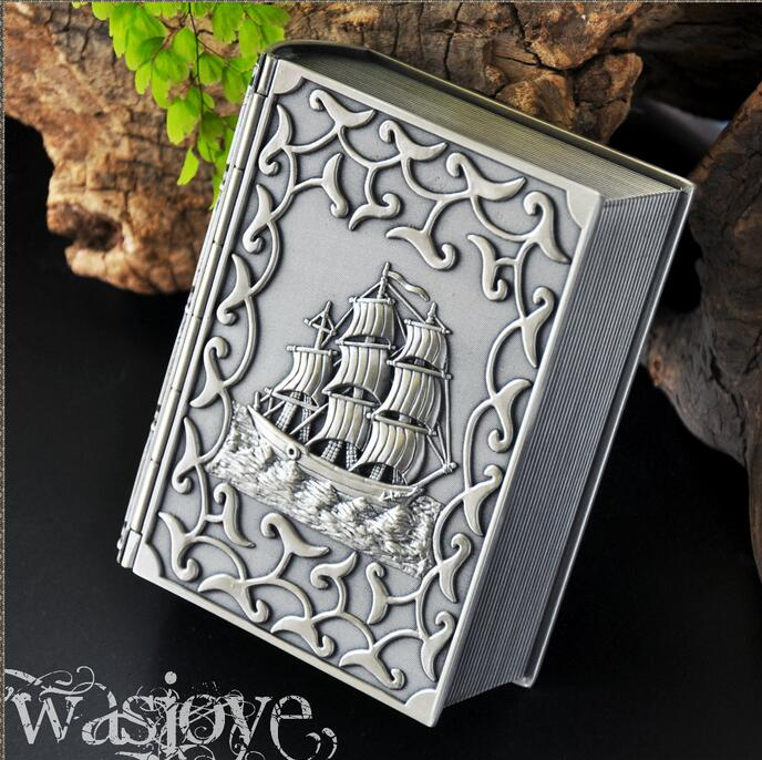 Vinatge Jewelry Box Book Design with Caribbean Boat Carved Metal Trinket Alloy Case Carrying Box Home decoration Z051