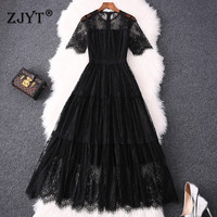 Elegant Summer Dress Women Clothes 2019 Fashion Short Sleeve Hollow Sexy Black ALine Midi Dinner Party Lace Dresses robe femme
