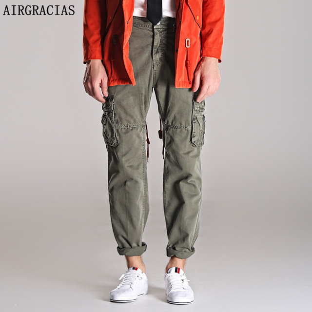 AIRGRACIAS  Anglo - American Men Fashion Cargo Pants Military Army Pant Dark Gray,Army Green,Gray Size 29-40 men's Long trousers