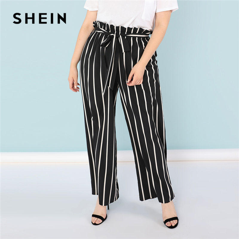 1f217fc0c23 SHEIN Plus Size Black and White Vertical Stripe Ruffle Waist Flare Hem Pants  Women Straight Leg Loose Casual Autumn Trousers-in Pants   Capris from  Women s ...