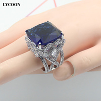 LYCOON New Elegant Big Square Hyperbole Rings Prong setting Crystal and Cubic Zirconia Butterfly ring for women LYD199