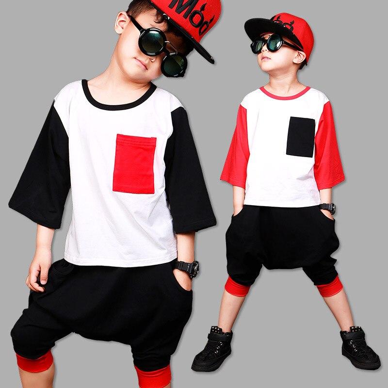 New Childrens Sets Hip-Hop Dance Wear Suits For Boys Football Sports Jersey Dance Sets T-Shirt + Harem Pants Clothes for Boy