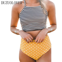 2017 Sexy Bikini Stripe Halter Women Swimsuit Bandage Swimwear Print Cross Bikini Set High Waist Swinsuit Bathing Suit Swim Wear 2017 new bikini women swimsuit high neck halter top swimwear vintage print bikinis set sexy beach swim wear bathing suit biquin